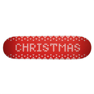 White Christmas Abstract Knitted Pattern Skateboard