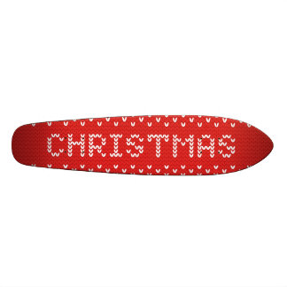 White Christmas Abstract Knitted Pattern Skateboard Deck