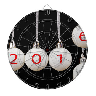 White christmas balls with dates 2015 and 2016 dartboard