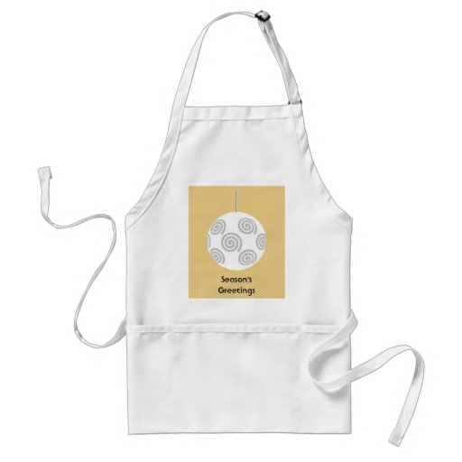 White Christmas Bauble. On Gold Color. Apron