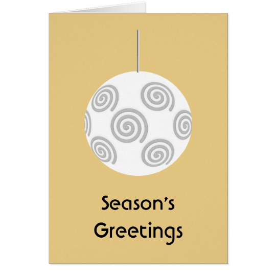 White Christmas Bauble. On Gold Color. Card