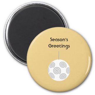 White Christmas Bauble. On Gold Color. Refrigerator Magnet
