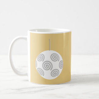 White Christmas Bauble. On Gold Color. Mug