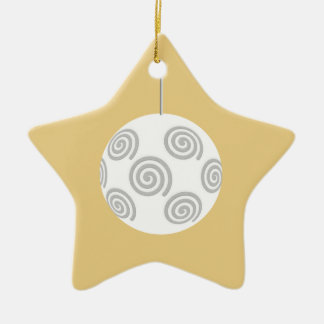 White Christmas Bauble. On Gold Color. Christmas Tree Ornaments