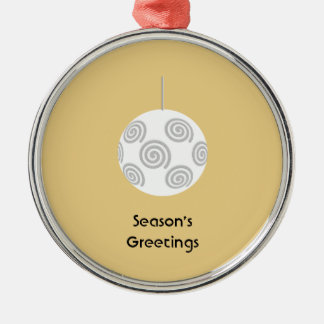 White Christmas Bauble. On Gold Color. Christmas Ornaments