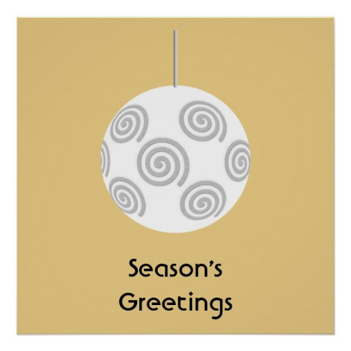 White Christmas Bauble. On Gold Color. Poster