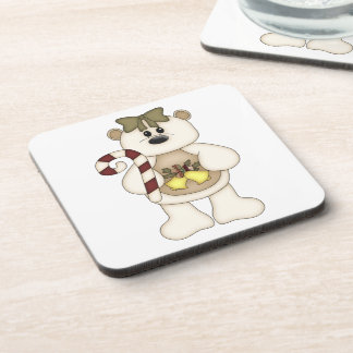 White Christmas Bear with Christmas Bells Beverage Coaster
