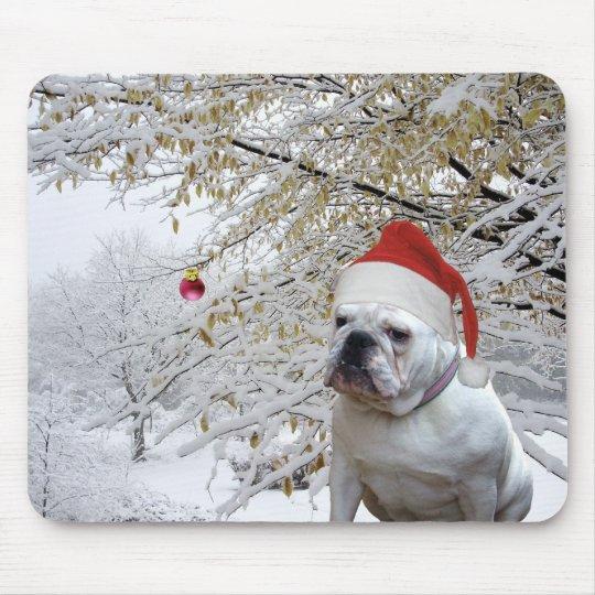 White Christmas Bulldog mousepad