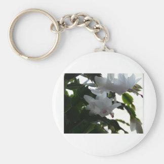 white christmas cactus keychain