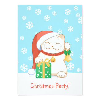 White Christmas Cat in a Red Hat Card