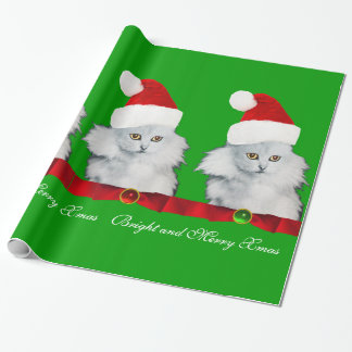 WHITE CHRISTMAS CAT,SANTA CLAUS HAT AND RED RIBBON WRAPPING PAPER