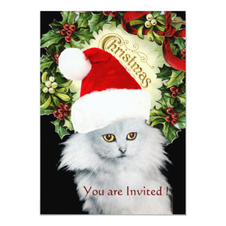WHITE CHRISTMAS CAT WITH SANTA CLAUS HAT 5X7 PAPER INVITATION CARD