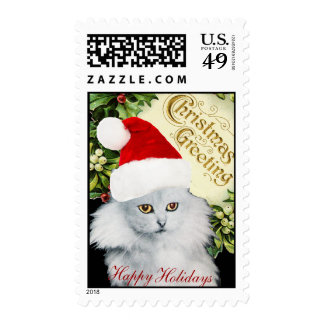 WHITE CHRISTMAS CAT WITH SANTA CLAUS HAT POSTAGE