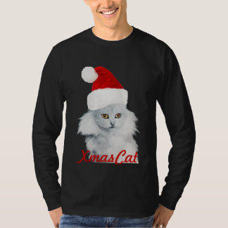 WHITE CHRISTMAS CAT WITH SANTA CLAUS HAT T-Shirt