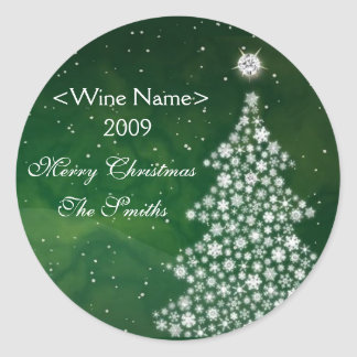 White Christmas Diamond Wine Label Classic Round Sticker