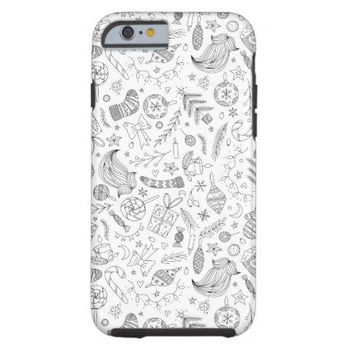 White Christmas Doodles Tough iPhone 6 Case