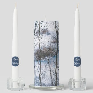 White Christmas Holiday Family Unity Candle