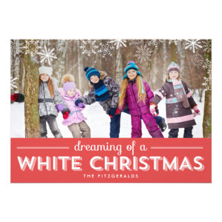White Christmas Holiday Photo Card - Red Cards