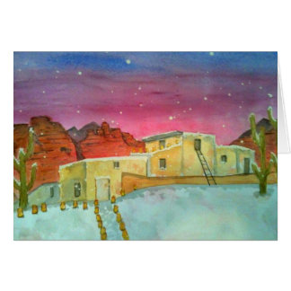 White Christmas in Sedona Watercolor Card