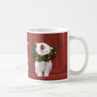 White Christmas kitten Coffee Mugs