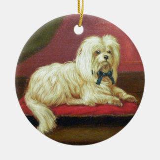 White Christmas Maltese Antique Painting Christmas Tree Ornament