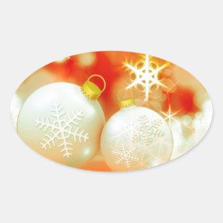 White Christmas Ornaments Oval Sticker