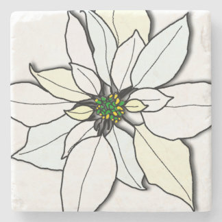 White Christmas Poinsettia Art Stone Coasters