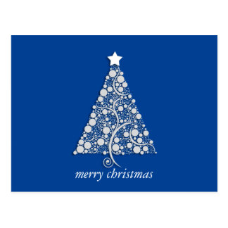 White christmas pop tree on winter blue postcard