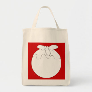 White Christmas Pudding, on Red. Bags