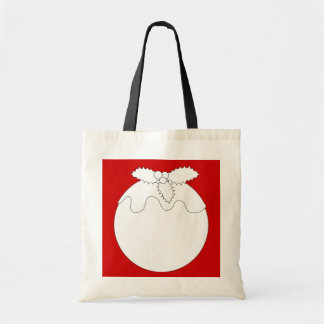 White Christmas Pudding, on Red. Canvas Bag