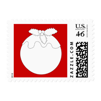 White Christmas Pudding on Red Postage Stamps