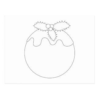 White Christmas Pudding. Simple Black Line. Postcard