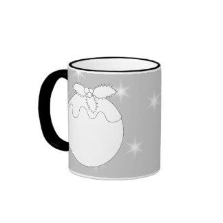 White Christmas Pudding with Stars. Coffee Mug