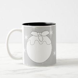 White Christmas Pudding with Stars. Two-Tone Coffee Mug