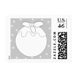 White Christmas Pudding with Stars Stamps