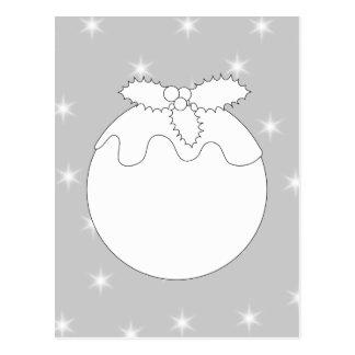 White Christmas Pudding with Stars. Postcard