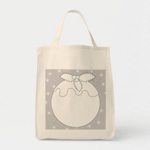 White Christmas Pudding with Stars. Tote Bag