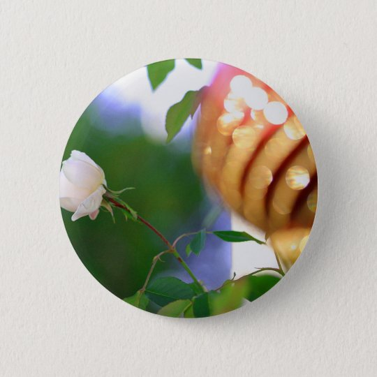 White Christmas Rose Button