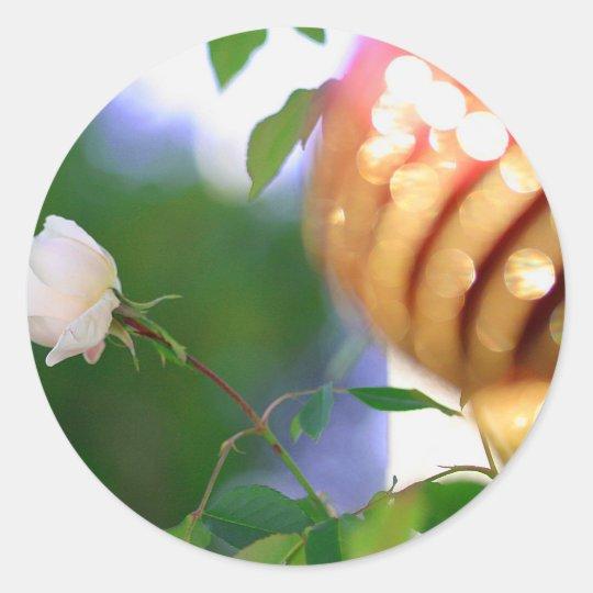 White Christmas Rose Classic Round Sticker