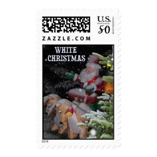 White Christmas Santa, Reindeer and Sleigh Postage