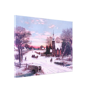 White Christmas Snow in the Morning Canvas Print