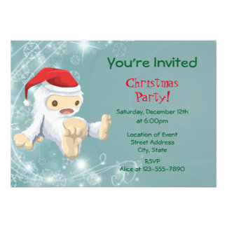 White Christmas Snow Monster Toy Party Card