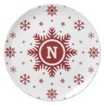 White Christmas Snowflake Custom Monogram Plate