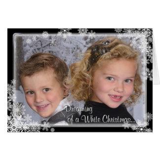White Christmas Snowflake Photo Card Folded