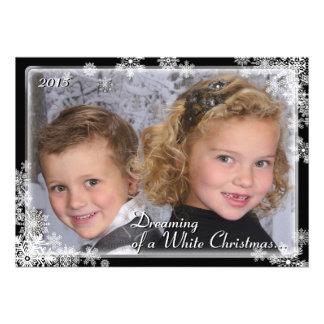 White Christmas Snowflake Photo Card Personalized Invitations