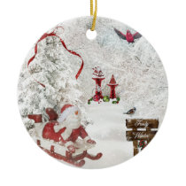 White Christmas Snowman Sled Cardinal ornament