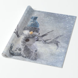 White Christmas snowman Wrapping Paper