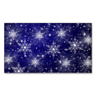 white christmas stars in blue magnetic business card