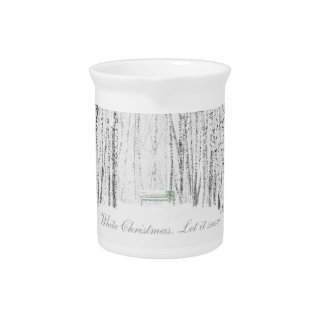 White Christmas Tale Beverage Pitcher