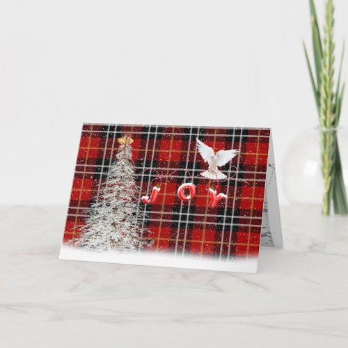 White Christmas Tree and Dove Card